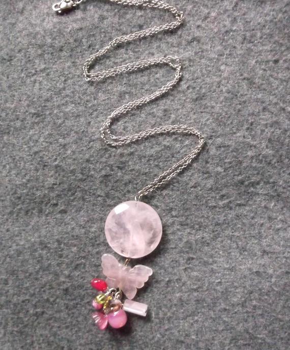 SALE. Rose Quartz Butterfly Long Necklace. 60% OFF was 125