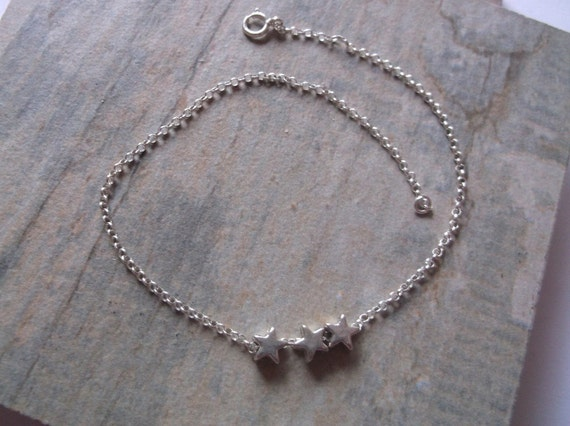 SUMMER SALE. Silver Star Anklet, 8.5 inches, 9.5 inches, 10.5 inches, 11.5 inches, 12.5 inches
