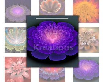 Fractal Flowers  1x1 Inch - 4x6 Digital Collage Sheet Printable Instant Download resin - glass tiles - magnets