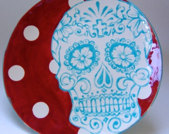 """Dia de los Muertos Sugar Skull pottery Serving Plate ceramic Red & Turquoise """"Day of the Dead"""" chip dip, cheese crackers, antipasto platter"""