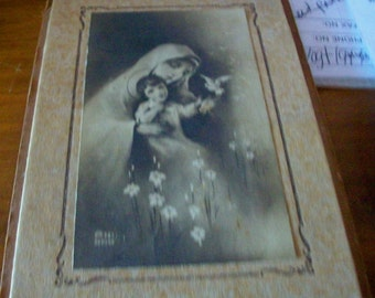 Vintage image Mary holding Young Jesus on 3X5 cardboard frame