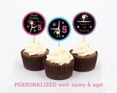 Gymnastics Chalkboard Personalized Cupcake Toppers / Gymnastics Cupcake Toppers / Gymnastics Birthday / PRINTABLE