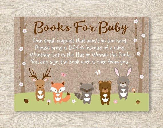 pink woodland forest animal baby shower book request cards, Baby shower invitations