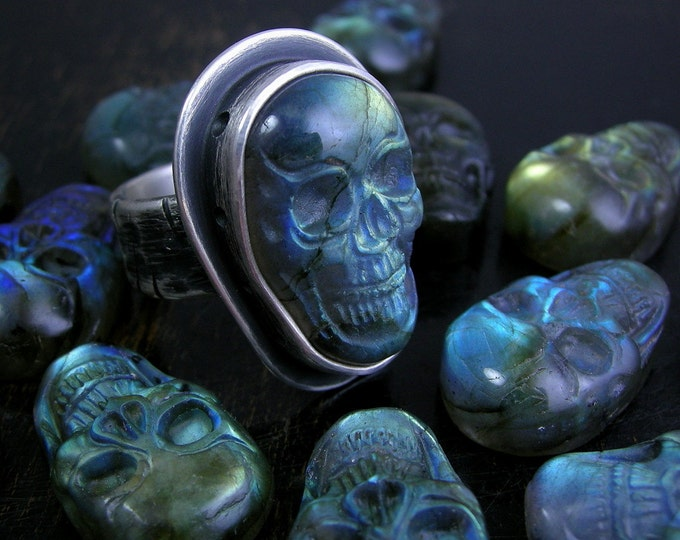 Pick a skull labradorite ring or pendant. Sterling silver with deep antique patina finish.