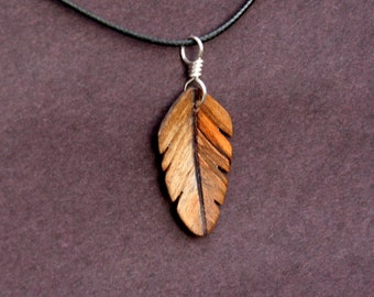 Handcarved  Ambrosia Maple and Purpleheart Wood  Leaf / Feather Pendant J160222