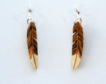 Handcarved Bocote, Maple and Holly Wood Feather Earrings J160340