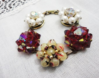 Bracelet of Vintage Beaded Earrings - Fuchsia White Ivory with Fold Over Clasp - Gold Tone