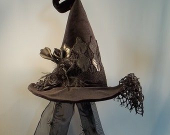 Witch Hat Made to Order Halloween Costume Accessory Cosplay Millinery Black Velvet Pleather lace Feathers Flowers Veil
