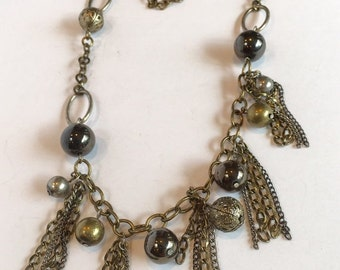Antiqued Silver Tone Long Tassel Necklace with Beads Vintage Boho Style