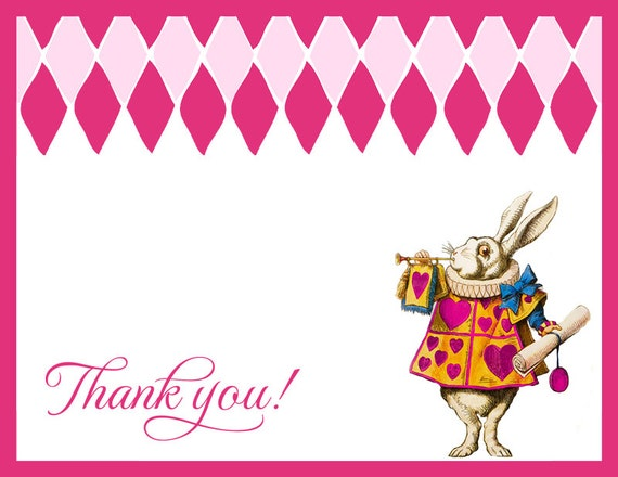 Alice In Wonderland Birthday Party Thank You Cards Birthday Wikii