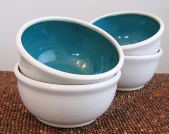 Pottery Soup Bowls or Cereal Bowls in Peacock Blue /Green - Set of 4 Stoneware Ceramic Bowls