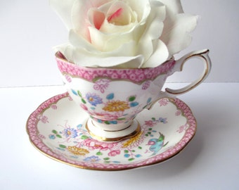 Vintage Teacup and Saucer Royal Albert English Bone China Pink Aqua Bluebird - Charming