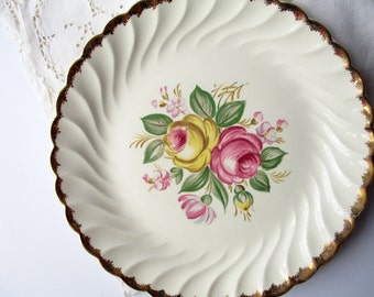 Vintage Royal Quban Pink Yellow Floral Round Serving Platter