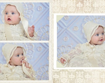 Sophia, Christening Gown, Cap , Bib, Slippers, with personalization.
