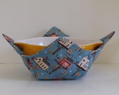 Large Microwave Bowl, Fabric Bowl, Bird Houses, Blue and Cream,  Food Warming, Serving Bowls, Microwave Cooking, Bridal Gift
