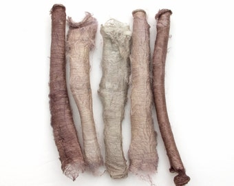 5 silk carrier rods - hand dyed, neutral colours, beige, taupe, brown, grey, stone, hand dyed silk fibre, textile supply