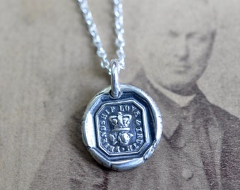 the rose and crown wax seal necklace ... friendship, love, truth - silver antique wax seal jewelry