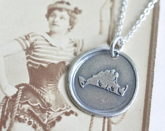 sterling silver Martha's Vineyard wax seal necklace - Martha's Vineyard, Massachusetts memories souvenir gift - keepsake - wax seal jewelry