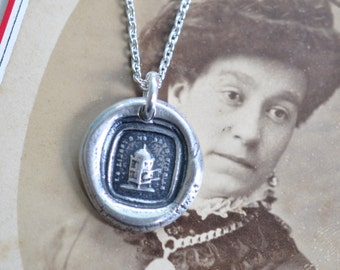 bird cage wax seal necklace ... freedom makes me faithful - sterling silver antique French motto wax seal jewelry