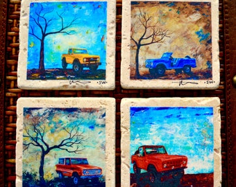 Fine Art Coasters, set of 4, Ford Bronco's, drink coaster, travertine, stone, 1970's, classic cars, distressed, car, truck