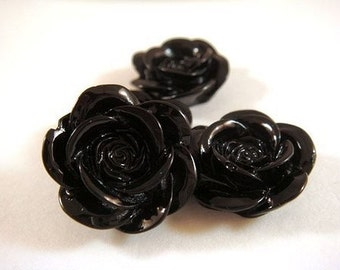 SALE - 8 Black Cabochon Beads Rose Resin 18mm - No Holes - 8 pc - CA2007-BK8