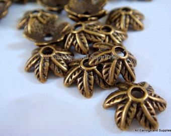 25 Antique Bronze Bead Cap Leaf Design Tibetan Silver 11mm - 25 pc - F4133BC-AB25