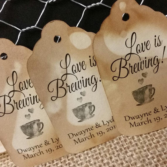 Love is Brewing MEDIUM Personalized Wedding Favor Tag  choose your amount