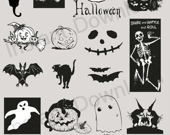 Halloween Vector Set 01 - Black Cat, Pumpkins, Skeletons, Ghosts and Bats Vector EPS Illustration (09882)