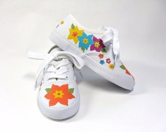Girls Flower Shoes, Hawaiian Luau Theme Party, Hand Painted Canvas Sneakers with Tropical Flowers  For Baby and Toddlers