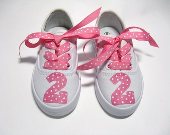 Birthday Shoes Customized With Age or Number and Paw Prints,  Hand Painted Cotton Canvas Sneakers, Baby and Toddler