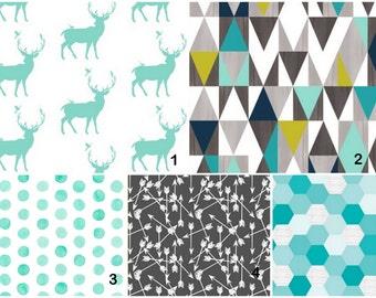Deer geometric triangles teal charcoal olive  Custom Modern Crib Bedding set - create your own set