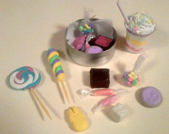 "18"" Doll Food Easter Goodies Tin - 18 inch doll food, brownie, cookie, candy, shake, peep 1:3 scale"