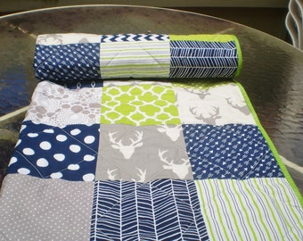 Baby quilt,Baby boy bedding quilt,Toddler Crib quilt,navy blue,lime green,grey,patchwork,chevron,deer,arrow,rustic,woodland,stag,Buck Forest
