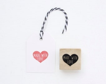 Rubber Stamp - Made With Love Heart