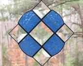 Stained Glass Suncatcher - Victorian in Textured Medium Blue
