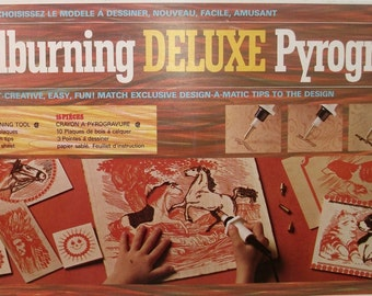 Vintage Woodburning Deluxe Pyrogravure Design-a-matic  Wood Burning Craft Kit COMPLETE