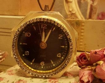 Vintage Bradley Rhinestone and Lucite Wind up Alarm Clock