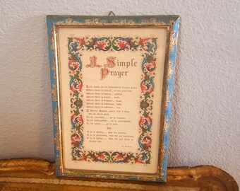 Italian Florentine Picture Frame With Print Poem Sentiment A Simple Prayer of Peace - Love Aqua