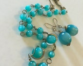 1960's Teal Moonglow Necklace and Earrings Set
