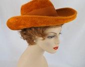 Vintage Burnt Orange Wide Brim Breton Hat by Frank Olive Sz 21 1/2