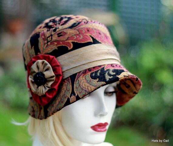 Womens Winter Warm Hat Cloche Edwardian Bohemian Downton Abbey Boho in Bold Paisley Tapestry Print Fabric