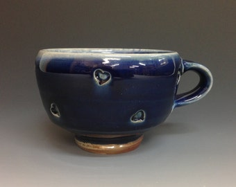 Heart Coffee Cup in Cobalt Blue. Soda Fired Stoneware Pottery