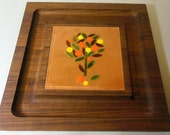 MCM Square Cheese Board Server - Genuine Walnut Wood - Designer Ernest Sohn - Enamel Copper Citrus Tree Serving Tray - Mid Century 1960s 60s