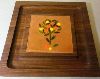 MCM Square Cheese Board Server - Genuine Walnut Wood - Designer Ernest Sohn - Enamel Copper Citrus Tree Serving Tray - Mid Century 1960s 60s