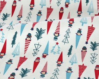 4245 - Christmas Tree and Girl Cotton Jersey Knit Fabric - 68 Inch (Width) x 1/2 Yard (Length)