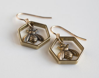Bee Earrings - Hexagon Earrings - Bee Jewelry - Hexagon Earrings - Geometric Earrings - Sacred Geometry