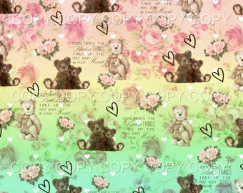 INSTANT DOWNLOAD  - The Love Of Teddy B Printable Paper -  8.5 x 11 inches Digital Download -  Image- Digital - Images - Original