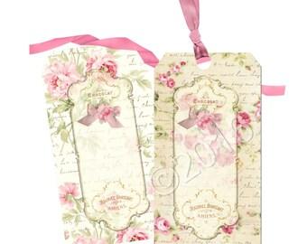 Instant Download - Elegant Rose Tags -  Printable Digital Collage Sheet - Digital Download - Scrapbook Embellishment