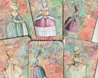Instant Download  - Marie Antoinette Shabby Chic    - ACEO - Digital Download - Printable  Digital Collage Sheet