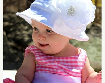 SALE Baby Sun Hat Large White (Removable) Flower Clip With White Sun Hat-(You Pick Size)